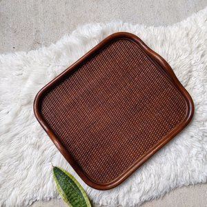 Vintage Bamboo Woven Serving Tray Wicker Brown